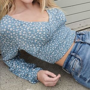 Garage blue smocked crop top blouse